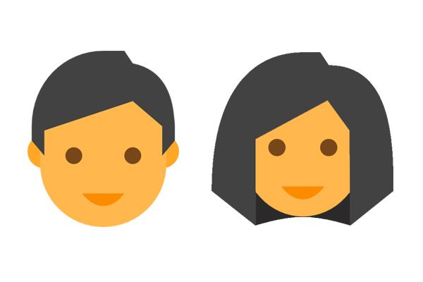 Face,Facial expression,Cartoon,Head,Yellow,Cheek,Smile,Black hair.