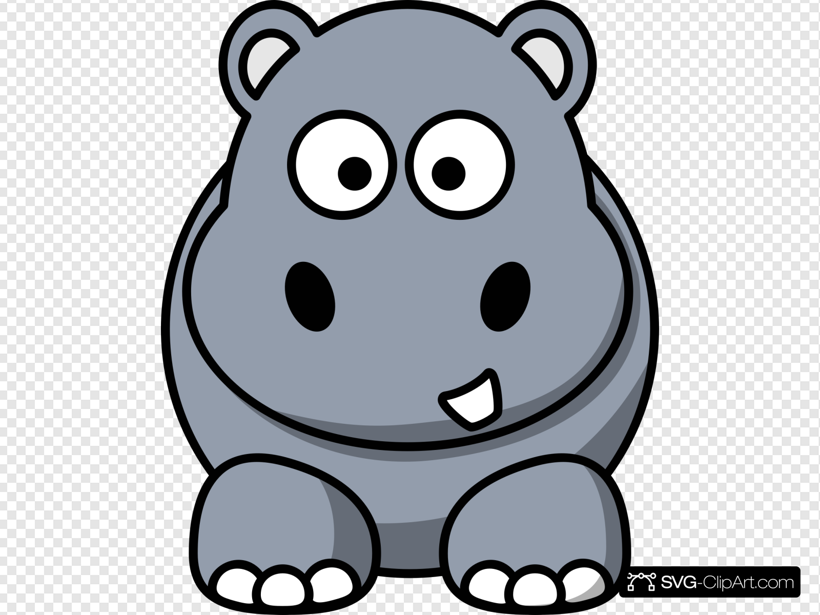 Simple Cartoon Hippo Clip art, Icon and SVG.