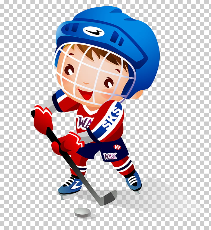 Ice hockey Child Hockey stick , cartoon boy playing hockey.
