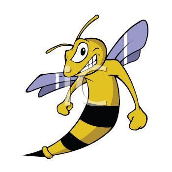 Cartoon Hornet Sports Mascot.