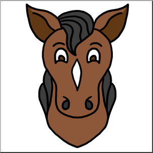 Clip Art: Cartoon Animal Faces: Horse Color I abcteach.com.