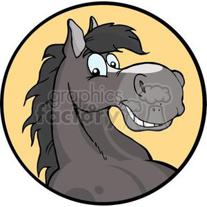 happy cartoon horse head clipart. Royalty.