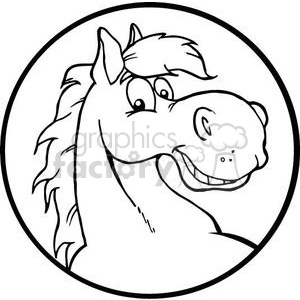black and white horse head clipart. Royalty.