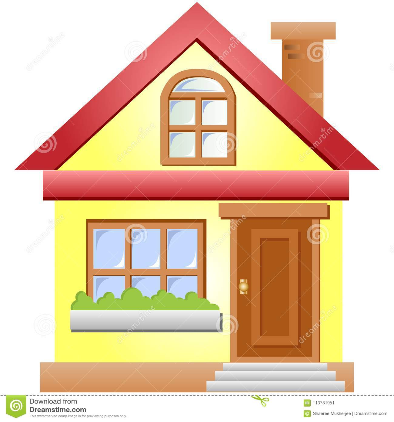 Vector Cartoon House Illustration Stock Vector.