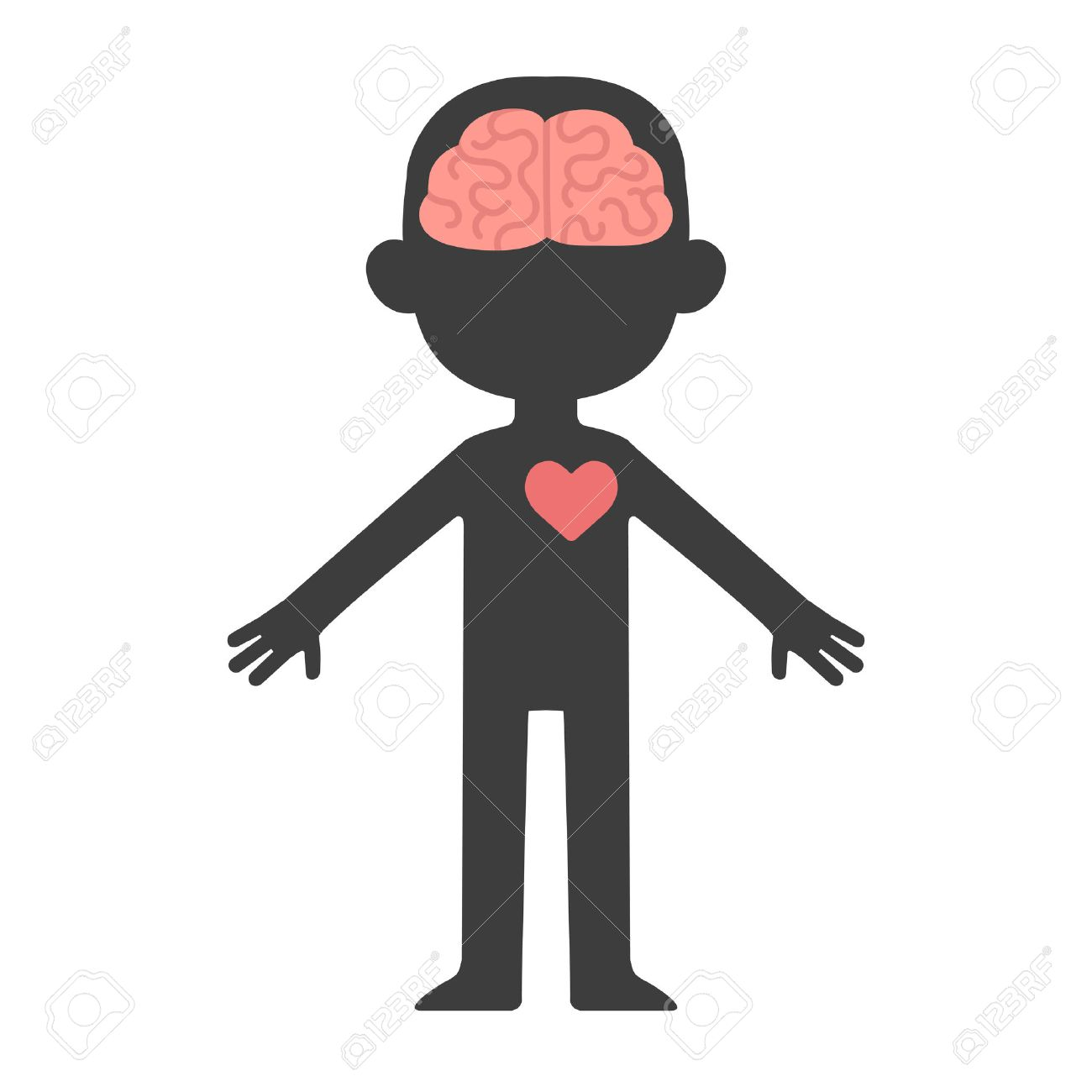 Cartoon human body silhouette with visible brain and heart..