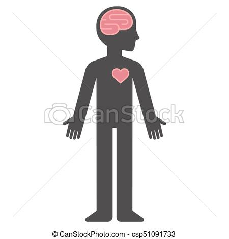 Cartoon human body silhouette with brain and heart.