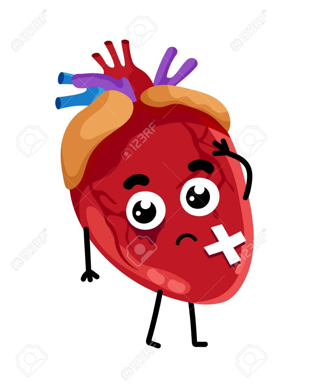 Human sick heart cartoon character. Body anatomy element, health...