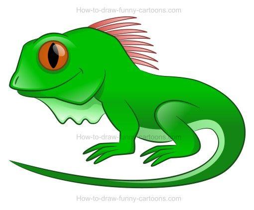 How to draw a cartoon iguana.