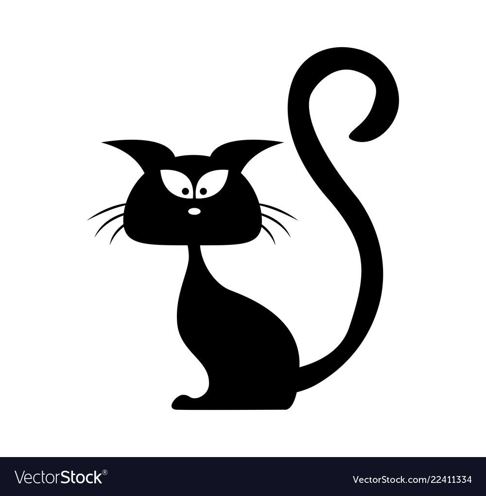 Halloween black cat silhouette cartoon clipart.