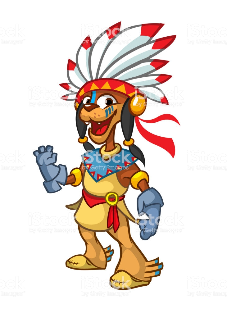 Cartoon Native American Indian Character Illustration Clipart Stock.