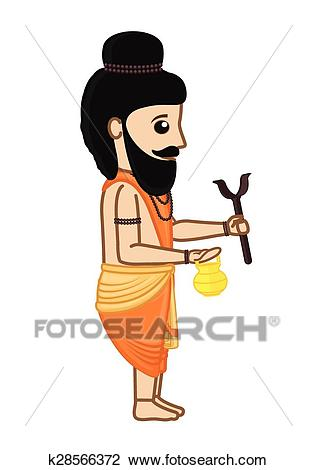 Cartoon Indian Saint Character Clipart.