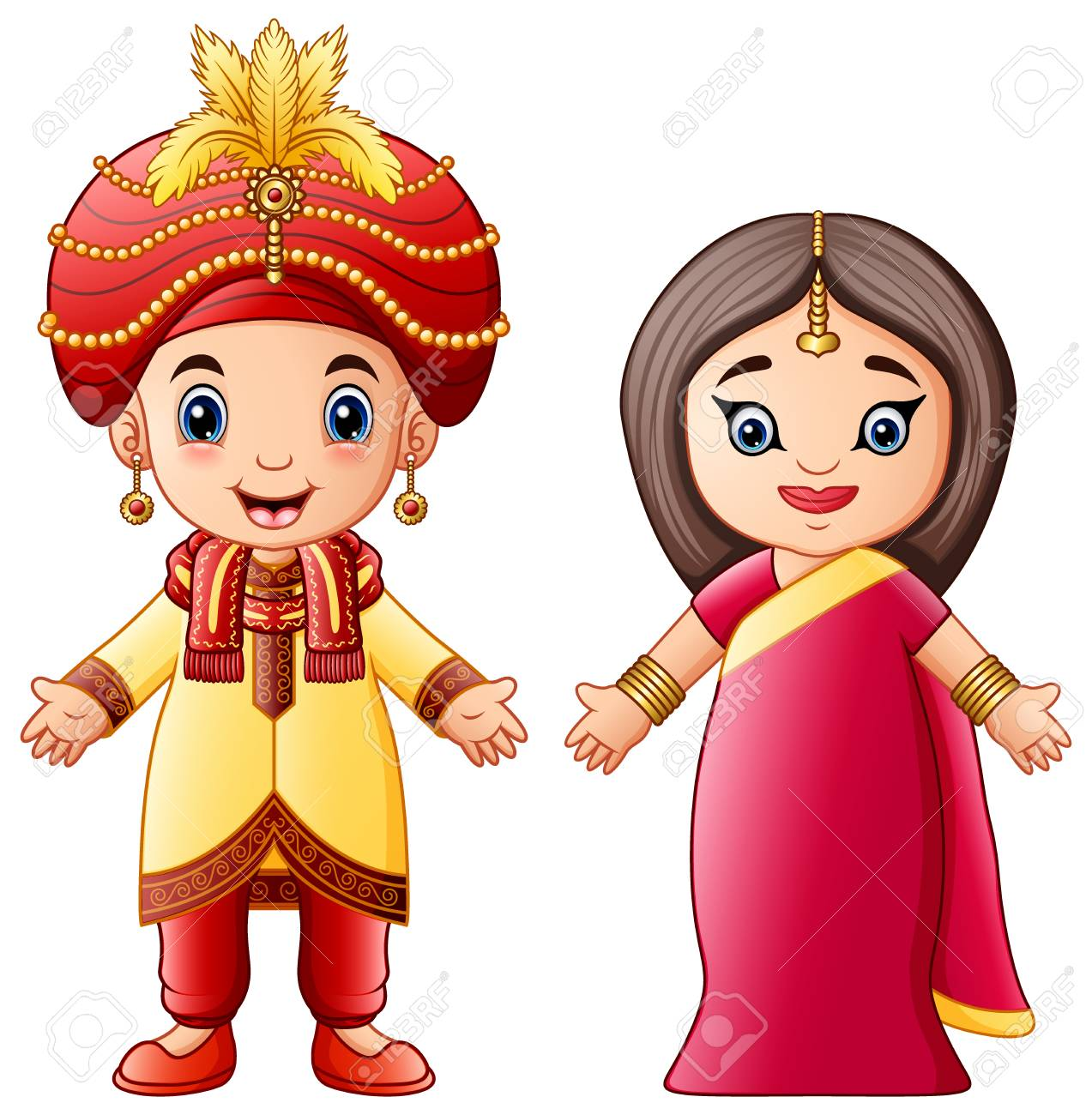 Vector illustration of Cartoon indian couple wearing traditional...