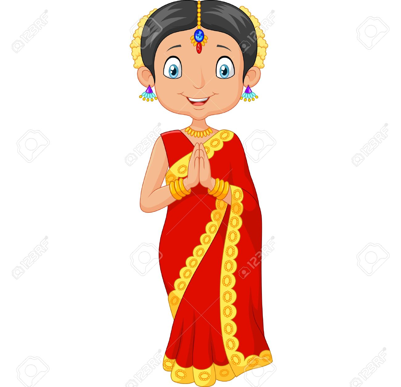 illustration of Cartoon Indian girl wearing traditional dress...