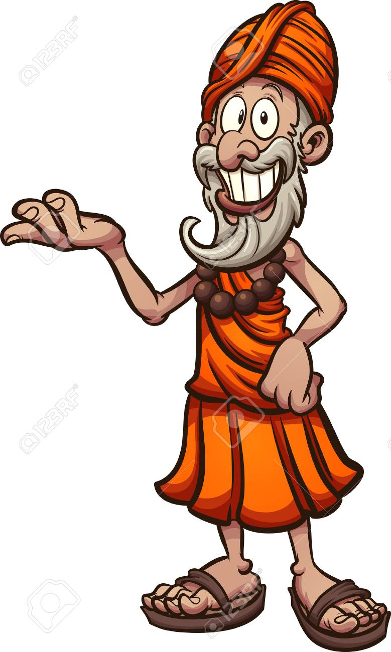 Cartoon Indian guru showcasing something Vector clip art illustration.