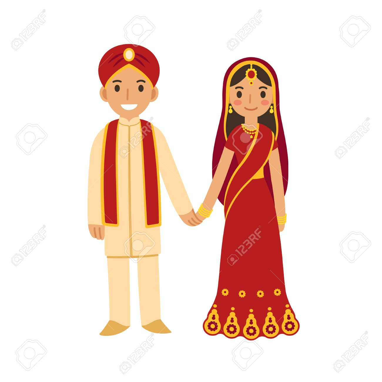 Indian wedding couple in traditional dress holding hands and...