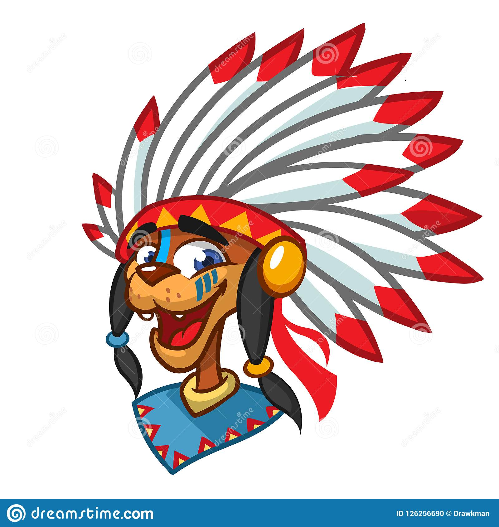 Cartoon Native American Indian Character. Illustration Clipart.