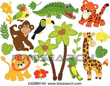 Vector Cartoon Safari Animals. Vector Jungle Animals Clipart.