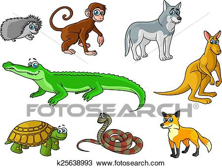 Cartoon forest and jungle wild animals Clipart.
