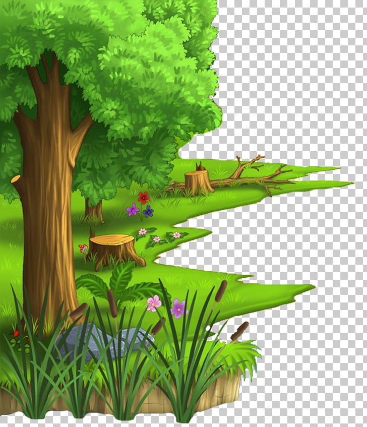 Cartoon Animation Desktop Village, jungle, green leafed.