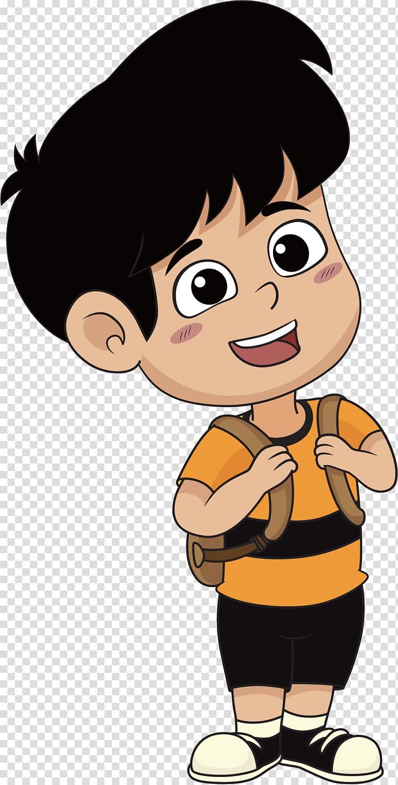 Boy wearing backpack illustration, Cartoon Illustration.