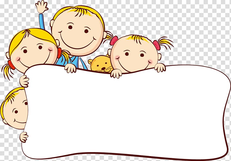 Cartoon Drawing , Cute cartoon kids frame, children transparent.