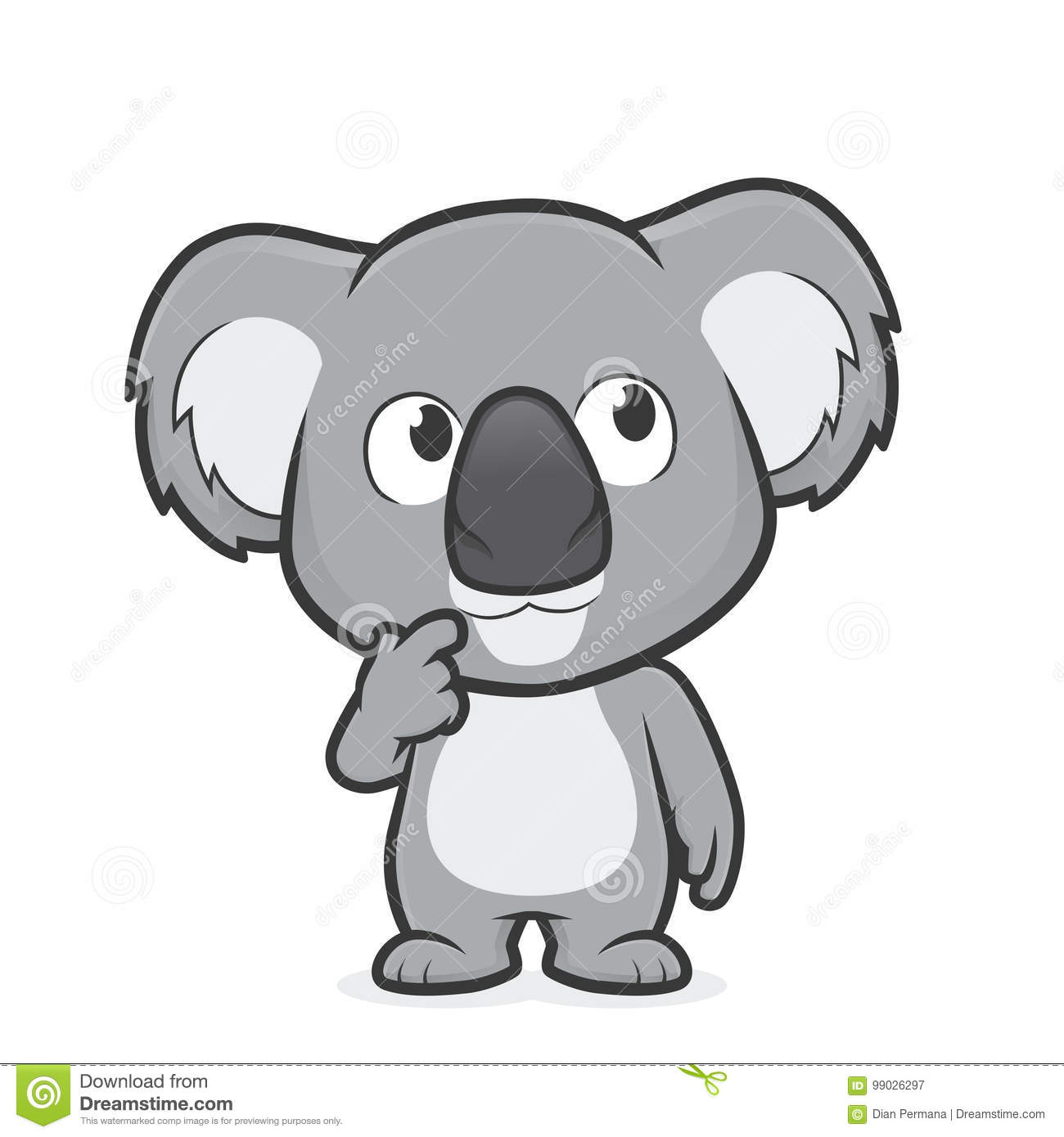 Koala in thinking gesture stock vector. Illustration of drawing.