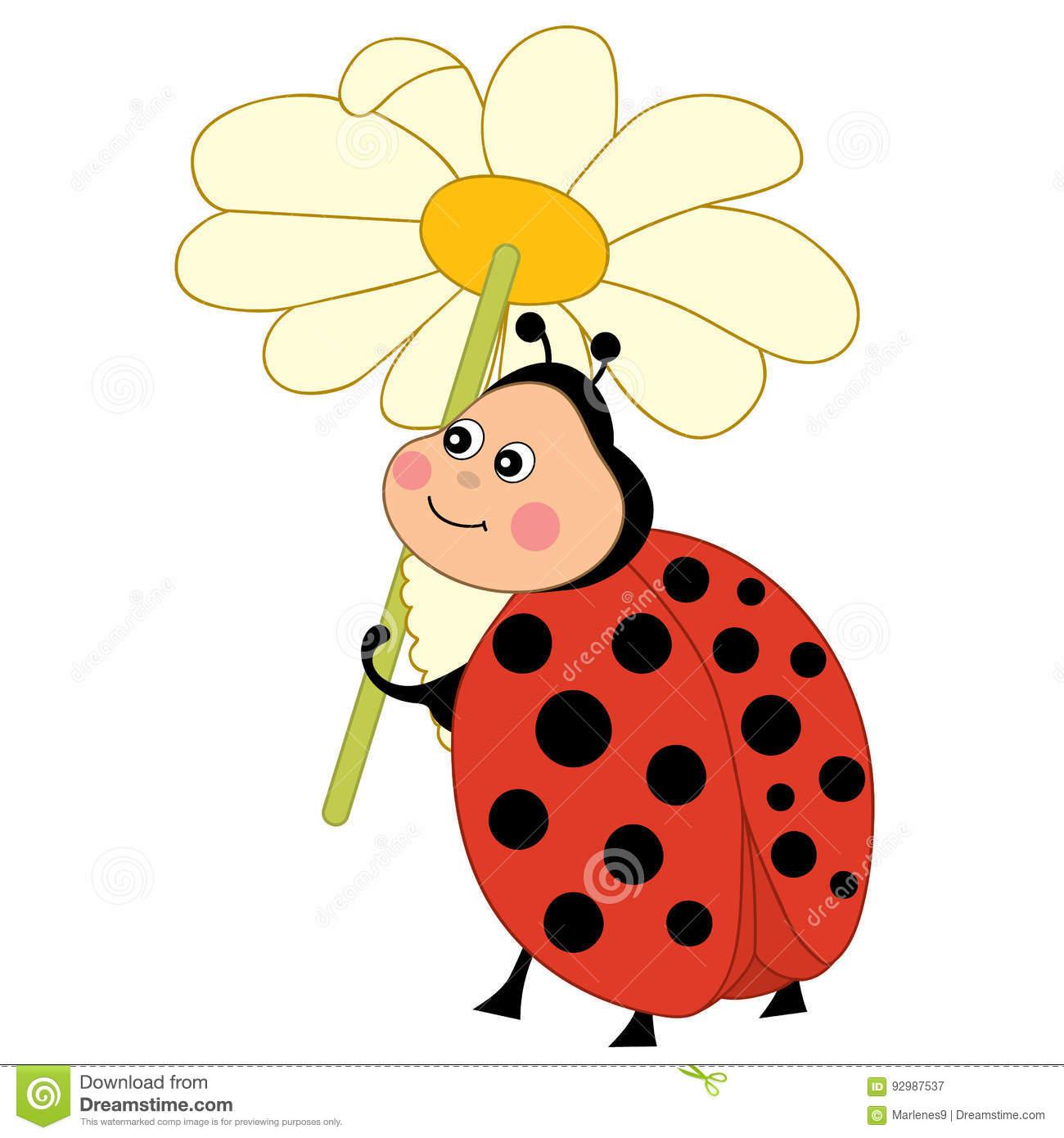 Vector Cute Ladybug With Flower, Ladybird Clipart Stock Vector.
