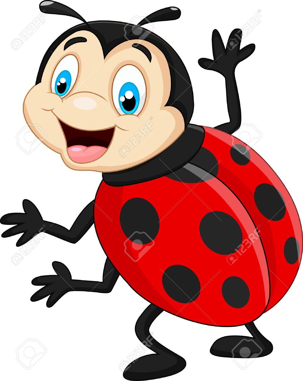 Cartoon ladybug waving.