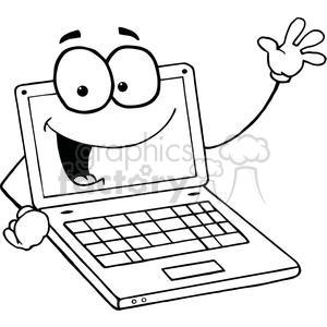 Laptop Cartoon Character Waving A Greeting clipart. Royalty.