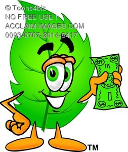 Cartoon Leaf Character Holding Money.