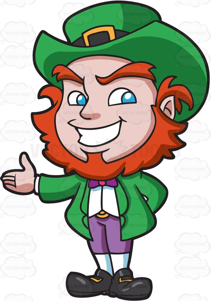 A friendly and warm leprechaun #cartoon #clipart #vector.