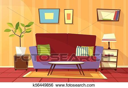 Vector cartoon living room apartment interior Clip Art.