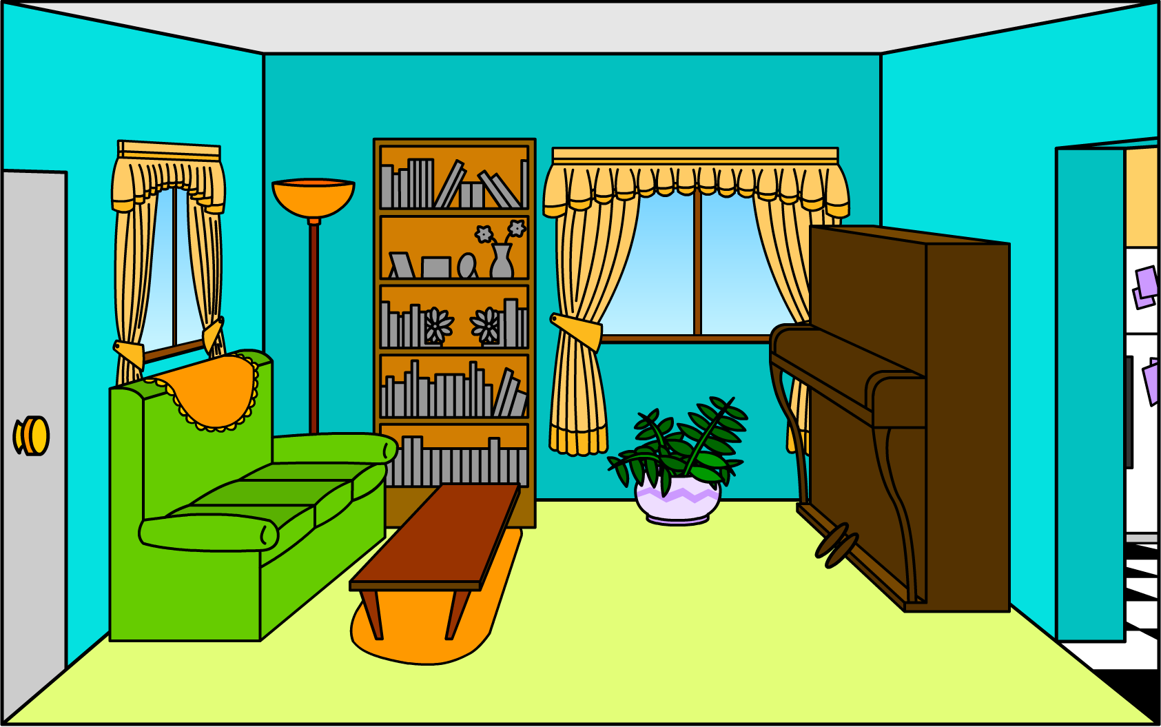 people in living room clipart.