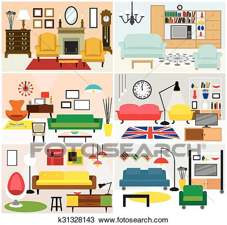 Furniture ideas for living room Clipart.