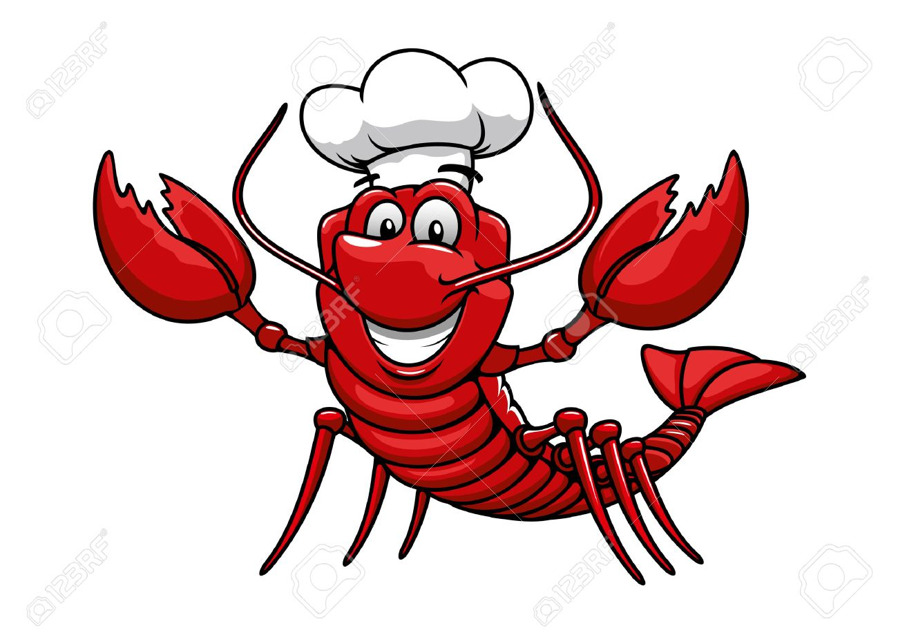 Happy cartoon red lobster chef mascot character with white uniform...