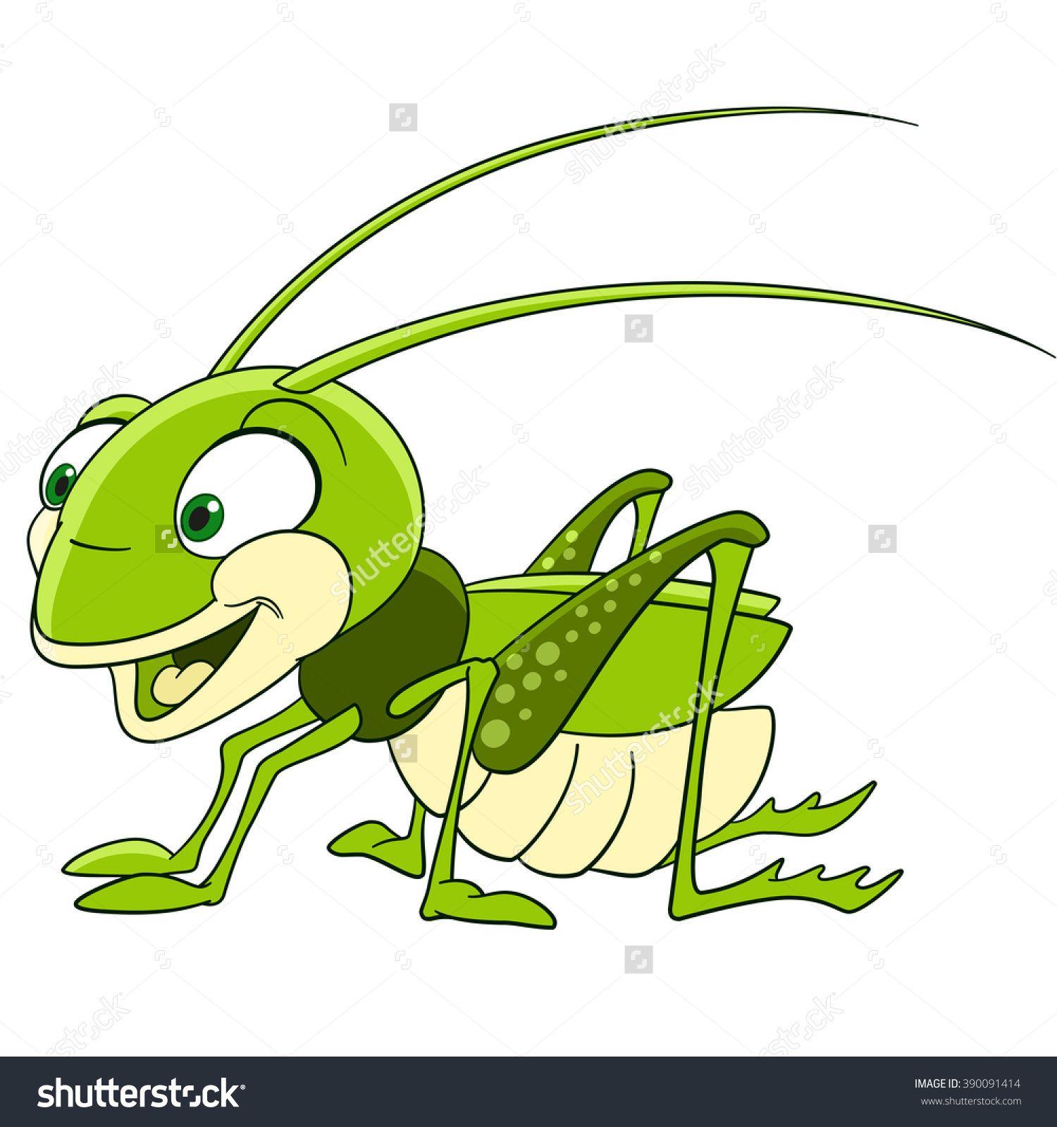 Cute And Funny Smiling Cartoon Grasshopper (Locust, Katydid.