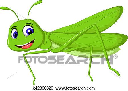Green locust cartoon Clipart.