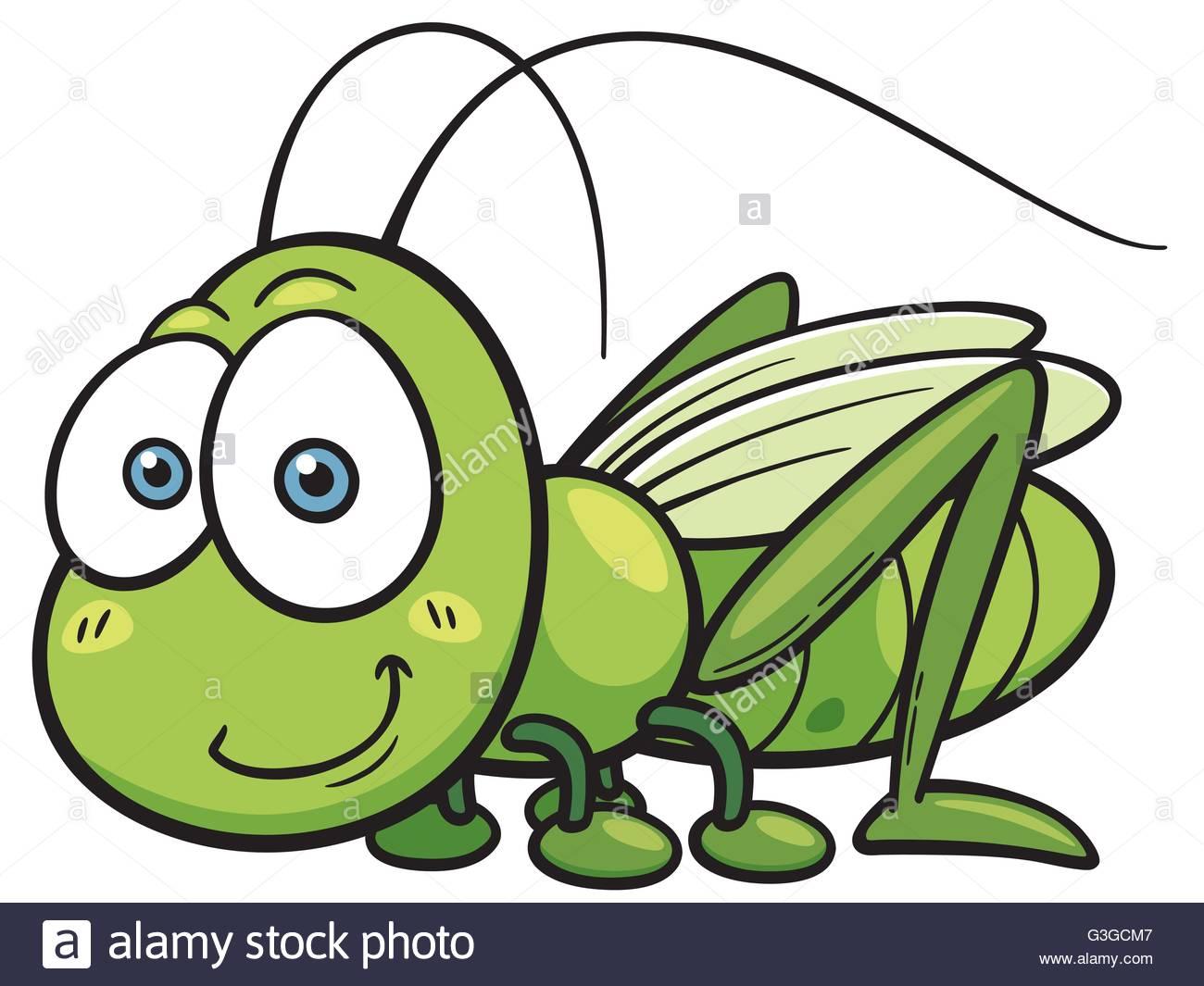 Vector illustration of Cartoon Grasshopper Stock Vector Art.