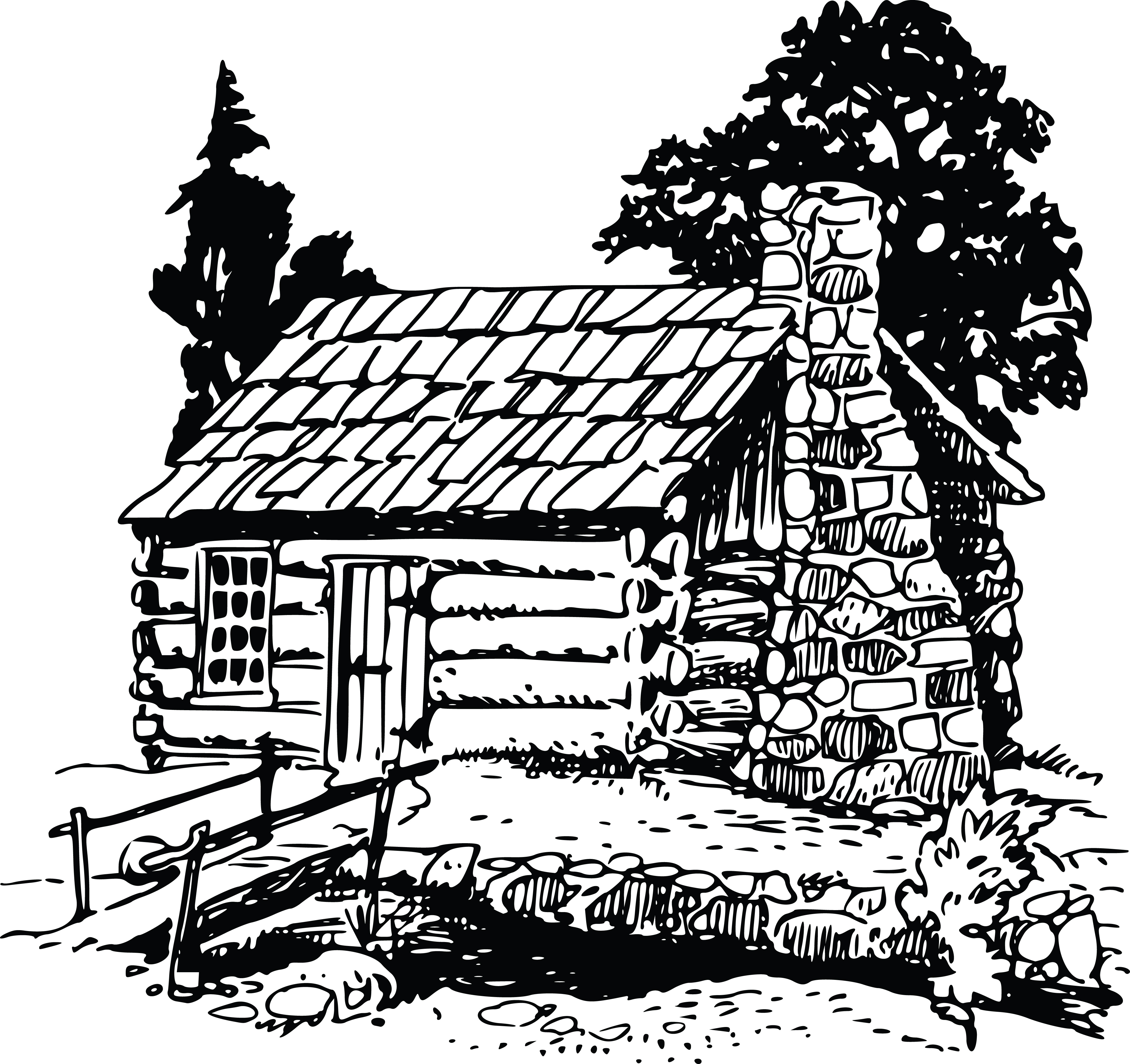 Free Clipart Of A Rustic Log Cabin.