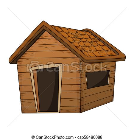 wooden house cartoon vector design isolated on white.