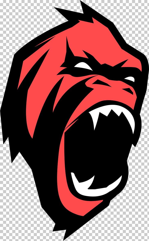 Western gorilla Ape Monkey , Cartoon gorilla Avatar, red.