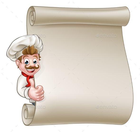 Cartoon Chef Menu Scroll.