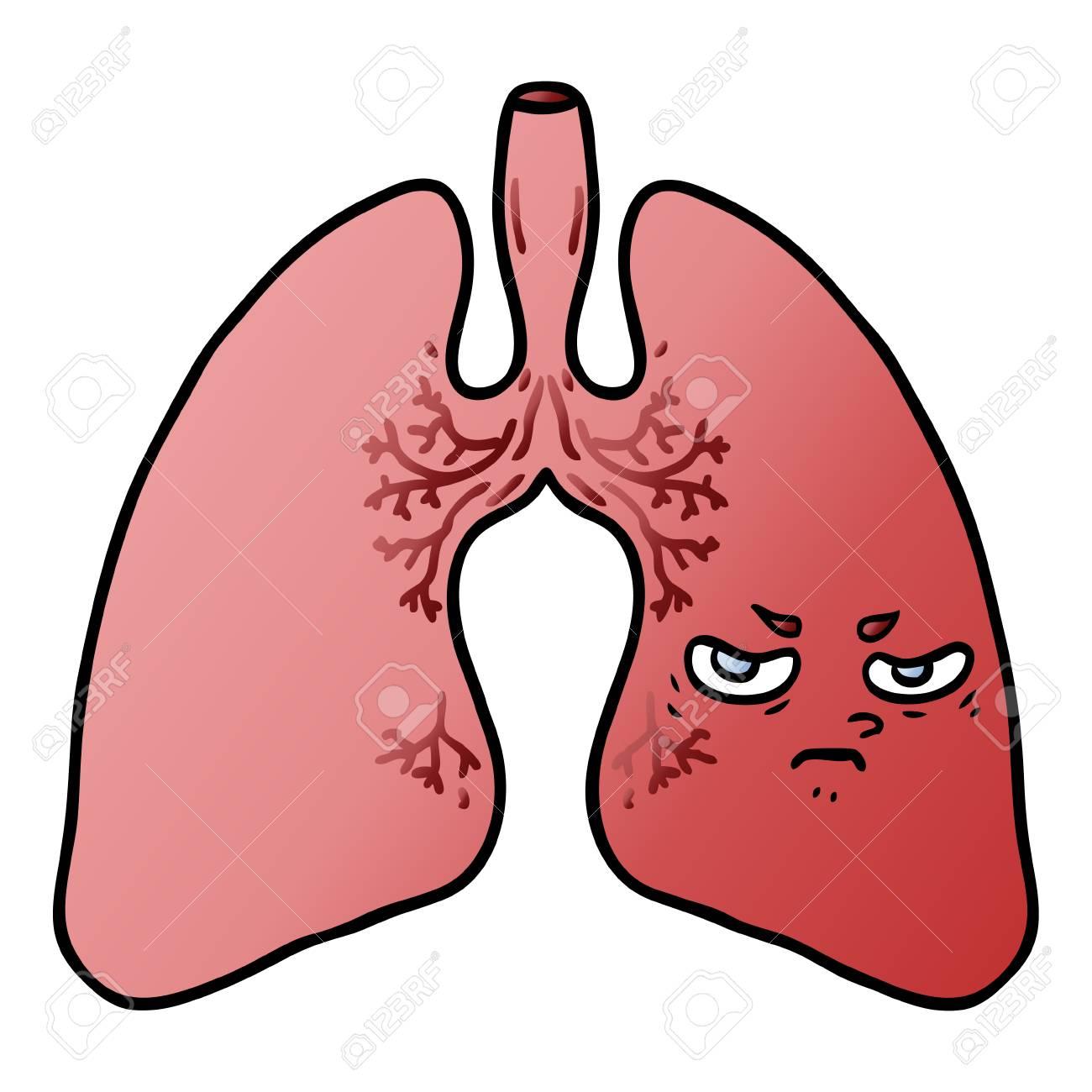 Hand drawn cartoon lungs.