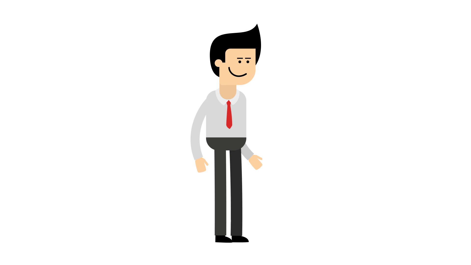 A cartoon man in shirt and red tie start, walk and stop animation. Looped  footage with transparent background PNG+Alpha. Motion Background.