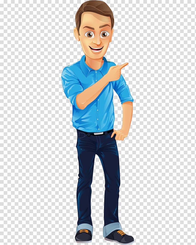 Character Male Cartoon, Short blue dress hand.