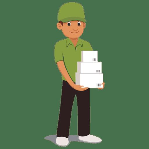 Parcel delivery man cartoon.