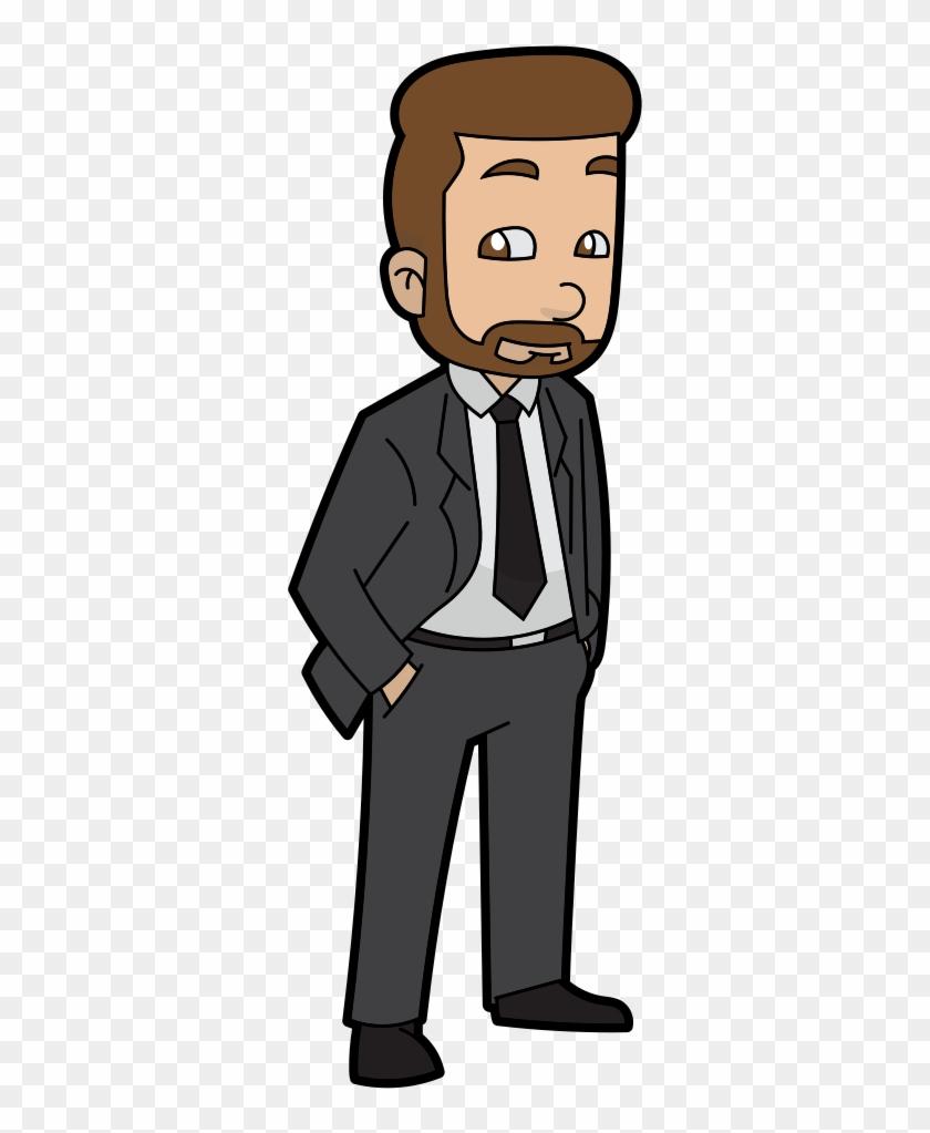 A Cartoon Businessman With Beard.