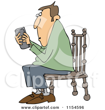 Cartoon of an Outlined Man Sitting in a Chair and Texting on a.