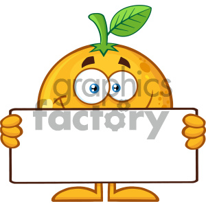 Royalty Free RF Clipart Illustration Funny Orange Fruit Cartoon Mascot  Character Holding A Blank Banner Vector Illustration Isolated On White.
