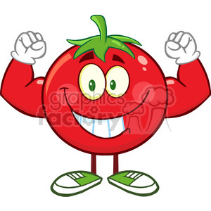 8391 Royalty Free RF Clipart Illustration Strong Tomato Cartoon Mascot  Character Flexing Vector Illustration Isolated On White clipart.  Royalty.